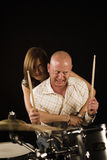 Bugging drummer Stock Images