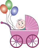 Buggy, baby and balloons. Pink baby buggy with a baby and some colored ballons. Funny graphic for many occasions. This file is also available as EPS-file stock illustration