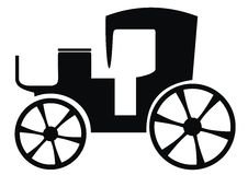 Buggy. Black silhouette of the old car Stock Images