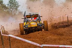 Buggy car in off road competition. Buggy car on dirt track in off road competition Royalty Free Stock Image