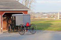 Buggy dei Amish e del cavallo immagini stock