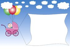 Buggy dragging a banner. A buggy hanging on colored ballons dragging advertising banner. Also available as Illustrator-file royalty free illustration