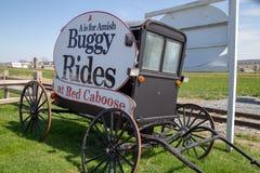 Buggy-Fahrten am roten Kombüsen-Motel-Zeichen stockfotografie