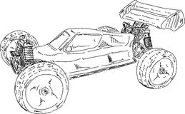 Buggy offroad. Vector - Hand draw RC buggy car isolated on background vector illustration