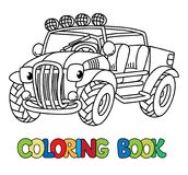 Funny Buggy car or outroader coloring book. Buggy, offroader or SUV coloring book for kids. Small funny vector cute car car with eyes and mouth. Children vector Stock Image