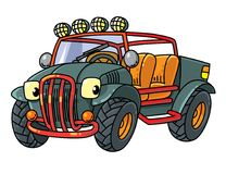 Funny buggy car or outroader. Buggy, offroader or SUV. Small funny vector cute car car with eyes and mouth. Children vector illustration Stock Images