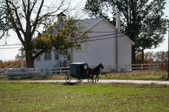 Buggy Passes Amish School Stock Image