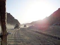 Buggy ride. Setting sun. A trip to an Egyptian village. royalty free stock photos