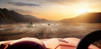 Egyptian desert at sunset. Buggy riding in egyptian desert at sunset, Egypt royalty free stock photo