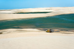 Buggy with tourists in Jericoacoara National Park Stock Image