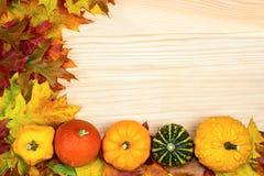 Bugia autunnale delle zucche e delle foglie su legno Fotografia Stock