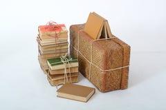 Bugia dei vecchi libri accanto alla vecchia valigia Immagine Stock