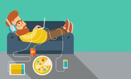 Bugia del giovane sul sofà illustrazione vettoriale