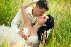 Bugia nuovo-sposata delle coppie su erba verde Immagini Stock
