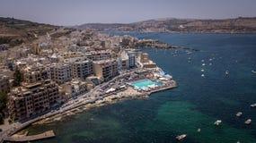Bugibba, baie de St Paul's, hôtel de Malte images libres de droits