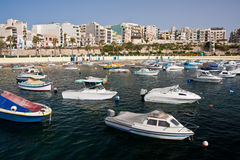 Bugibba city in Malta. St Pauls Bay in city of Bugibba on the Mediterranean island of Malta Royalty Free Stock Photo