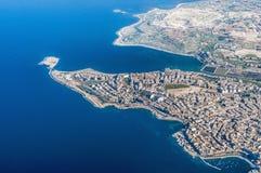 Bugibba em Malta como visto do ar Imagem de Stock