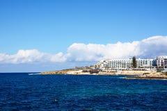 Bugibba linia brzegowa, Malta Fotografia Stock