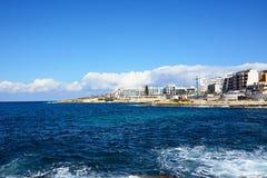Bugibba linia brzegowa, Malta Fotografia Royalty Free