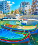 THe colorful boats in Bugibba resort, Malta stock photography