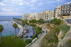 Bugibba and Qawra promenade, Malta. Bugibba and Qawra promenade, North of Malta stock photos