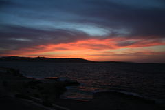 Bugibba. Sunset at the Bugibba bay - Malta Stock Image