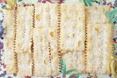 Bugie Chiacchiere, предпосылка еды масленицы Стоковые Фото