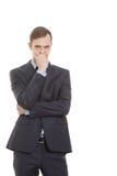 Bugie di diffidenza di gesti Linguaggio del corpo uomo dentro immagine stock
