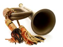 Bugle. Military brass Bugle with tassel Stock Photos