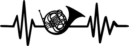 Bugle heartbeat line with instrument. Heartbeat pulse line with bugle instrument Stock Photography