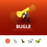 Bugle icon in different style. Bugle color icon, vector symbol in flat, outline and isometric style isolated on blur background Stock Photo