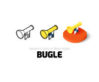Bugle icon in different style. Bugle icon, vector symbol in flat, outline and isometric style Stock Photo