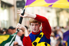 Bugler in medieval reenactment costumes Royalty Free Stock Images