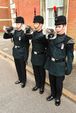 Buglers of the Rifles sound the last post at a military parade Royalty Free Stock Image