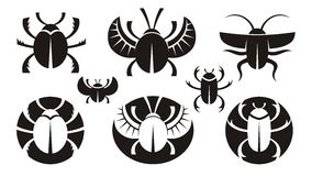 Bugs. B&W various icons of bugs Stock Photos