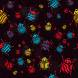 Bugs. Vector seamless texture with multicolor drawing bugs Royalty Free Stock Photo