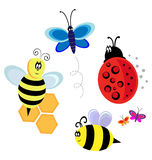Bugs, bee and butterfly. Isolated characters. bugs, bee and butterfly royalty free illustration