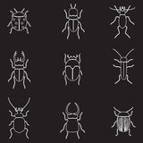Bugs and beetles outline icons set Royalty Free Stock Photo