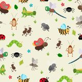 Bugs and Beetles seamless background Royalty Free Stock Photos