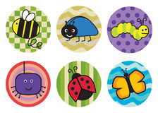 Bugs and beetles sticker icons Stock Photography