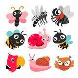 Bugs and bird collection royalty free illustration