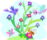 Bugs Bush. Here is a colorful bush with flowers, hummingbird, dragonfly, bee, and butterfly vector illustration