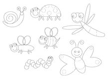 Bugs coloring vector illustration