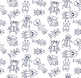 Bugs cute insects doodles seamless vector pattern Stock Image