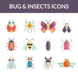 Bugs Flat Icons Royalty Free Stock Images