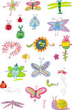 Bugs and Flowers - set. Colorful set of spring bugs illustrations Stock Photography