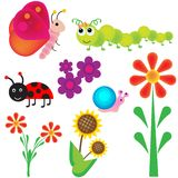Bugs in the garden. A vector set of a garden bugs in various colors Royalty Free Stock Photography