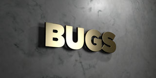 Bugs - Gold sign mounted on glossy marble wall  - 3D rendered royalty free stock illustration. This image can be used for an online website banner ad or a Royalty Free Stock Image
