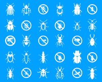 Bugs icon blue set vector. Bugs icon set. Simple set of bugs vector icons for web design isolated on blue background stock illustration