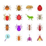 Bugs icon set, cartoon style. Bugs icon set. Cartoon set of bugs vector icons for your web design isolated on white background stock illustration